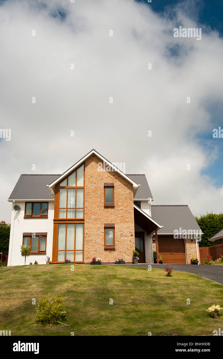 Detached executive homes on a private housing estate, Aberystwyth Wales UK - Stock Image
