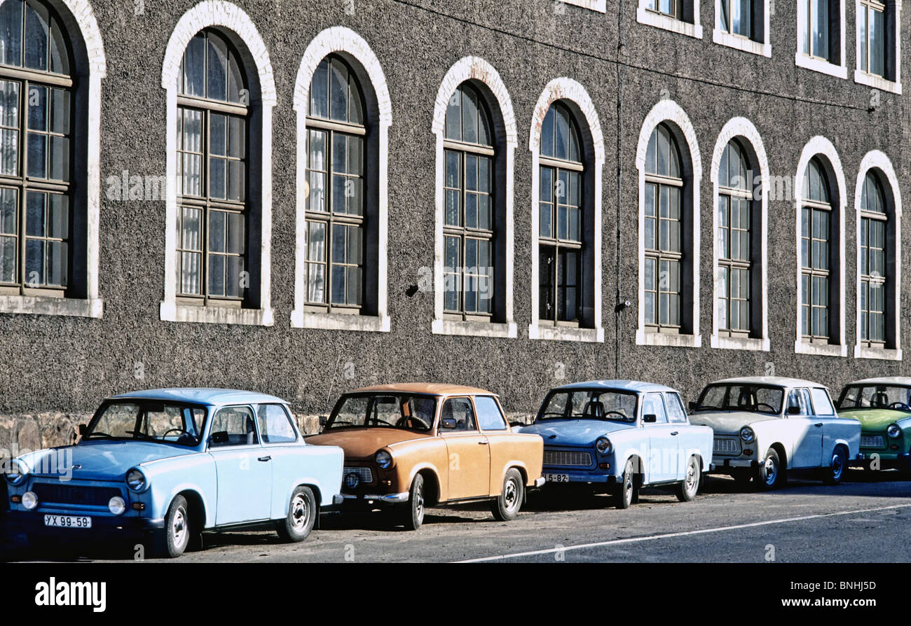 Grd East Germany Trabant Cars Outside Factory Autocar Autocars Automobil Automobils Building Buildings Car Communism - Stock Image