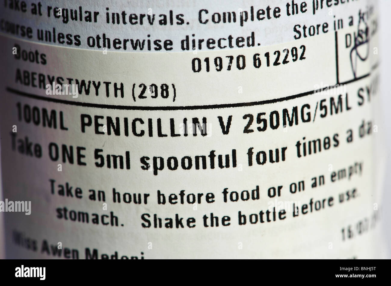 The label on a bottle of penicillin antibiotic medicine, UK - Stock Image