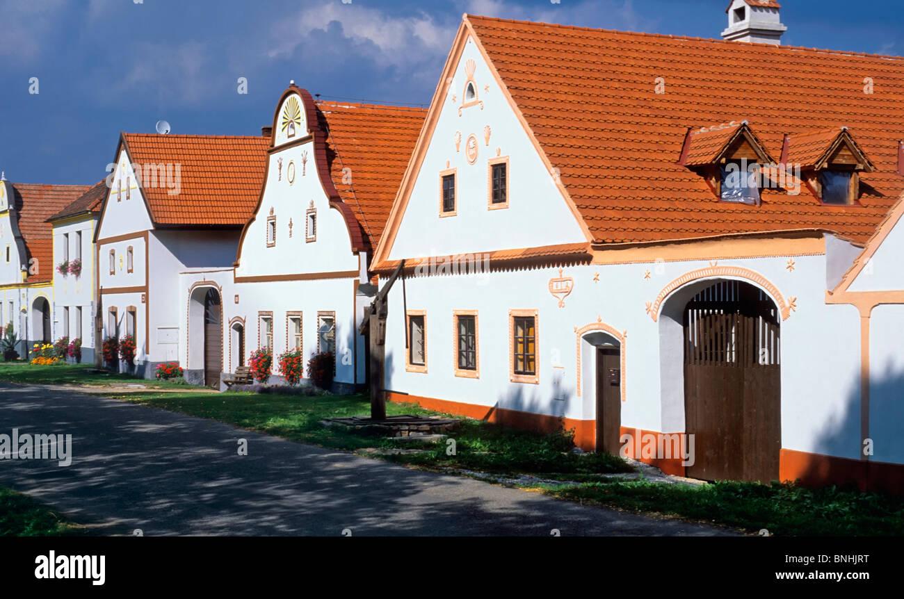 Czech Republic Holasovice Southern Bohemia Bohemian village 19th Century Baroque Baroque architecture Civil architecture - Stock Image