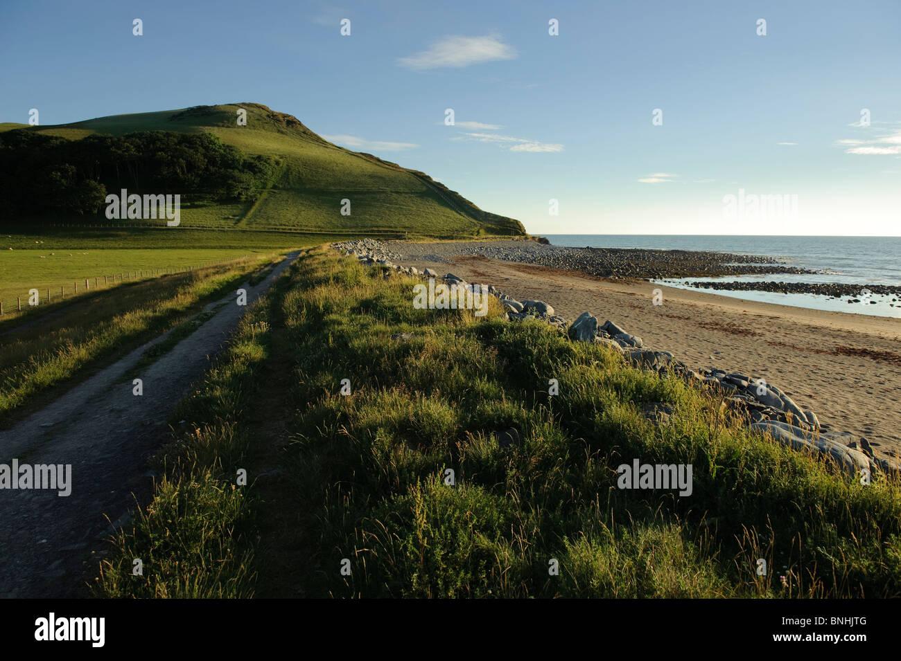summer evening, Tanyblwch beach, Aberystwyth Wales UK - Stock Image