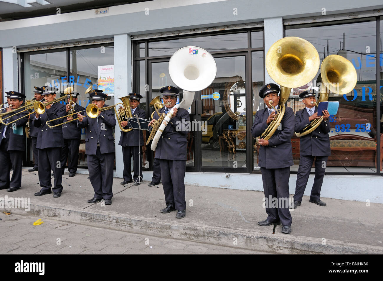 Ecuador Military Music Band Ibarra city Andes Mountains musicians uniforms people concert group men - Stock Image