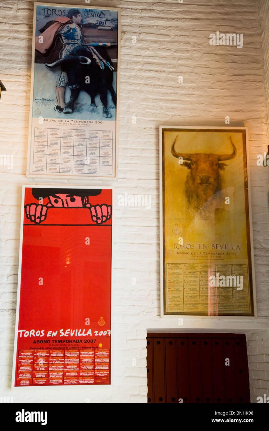 Bullfighting / bullfight poster / posters for sale in the Sevilla bullring / bull ring gift store / shop. Seville, - Stock Image
