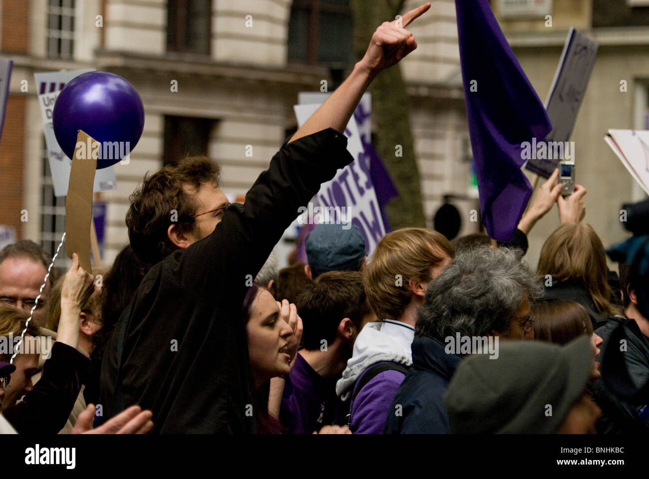 Fair Votes demonstration.  Smith Square London during Liberal Democrat coalition negotiations Transport House. 8th - Stock Image