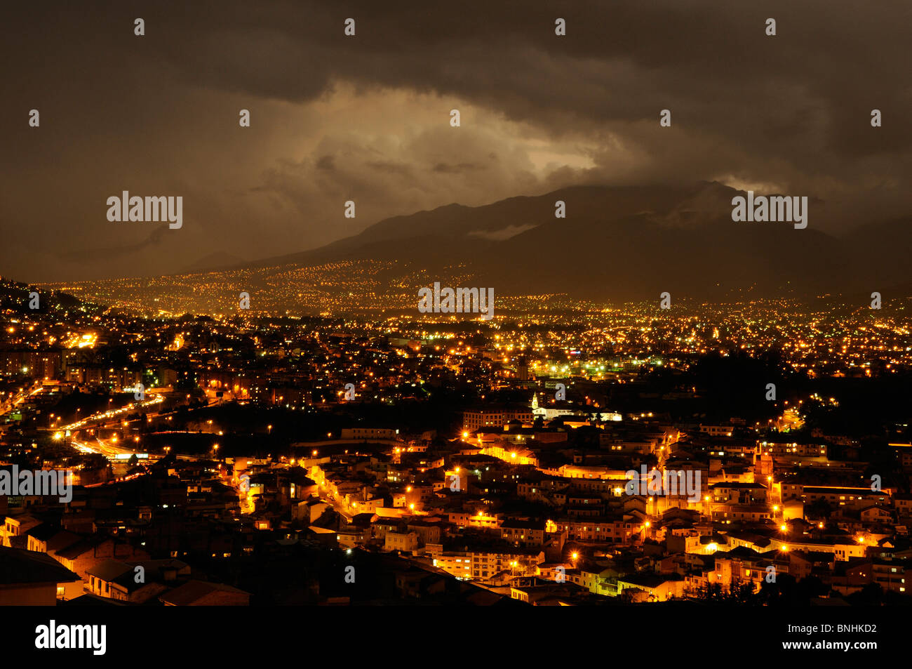 Ecuador Lightning Storm Old Town Quito City Overlook Lights Stormy Clouds Night Landscape Atmospheric Scenery Scenic