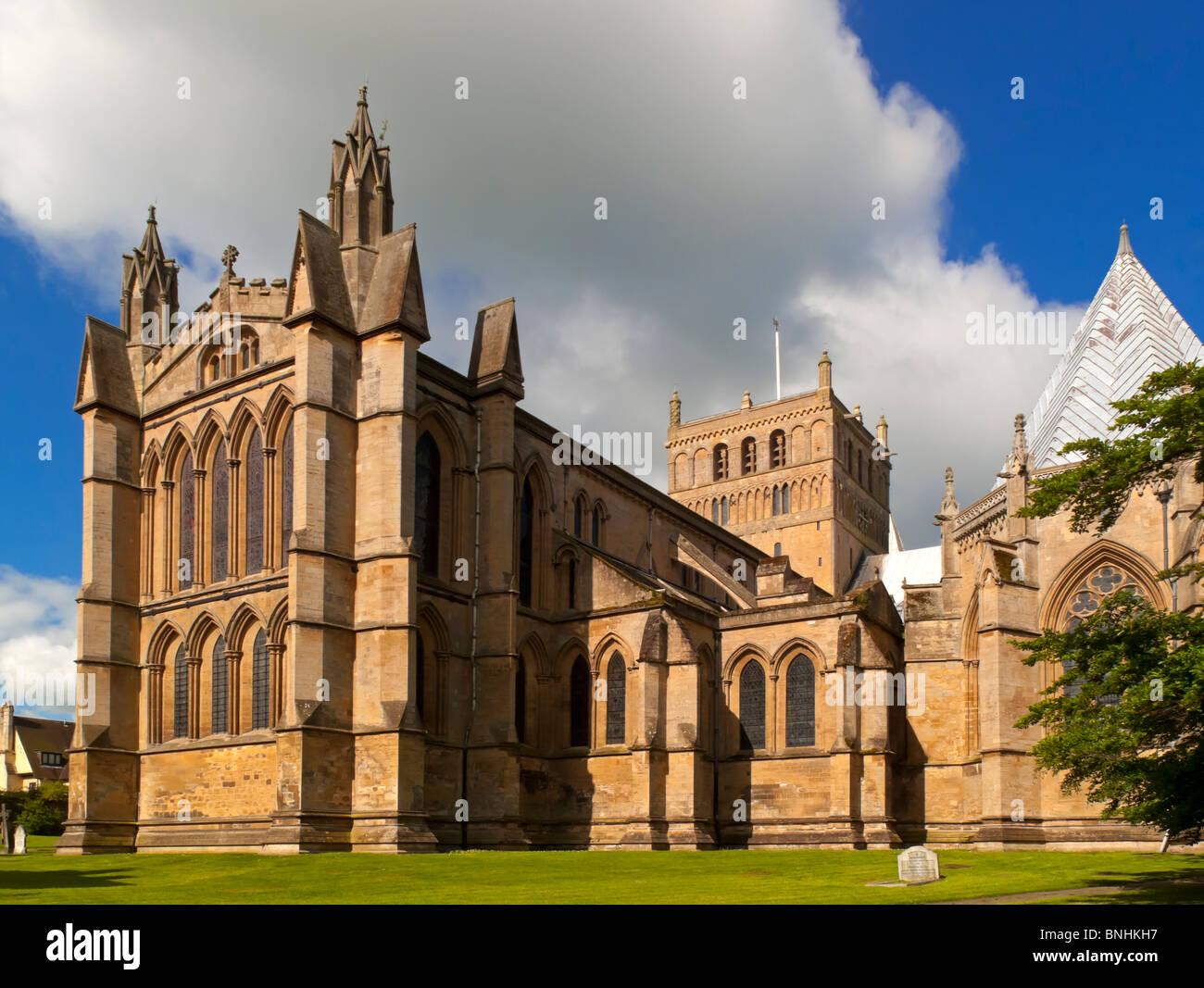 Southwell Minster a cathedral in Nottinghamshire England UK and a fine example of Norman and Early English church - Stock Image