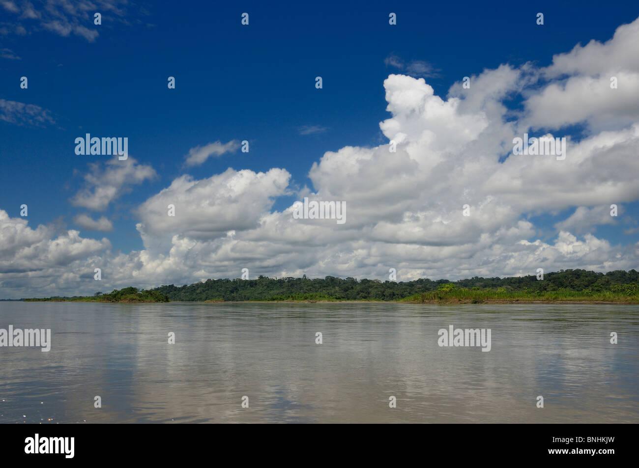 Ecuador Napo river near Coca Amazonia nature landscape scenery forest shore water tropics tropical rainforest - Stock Image