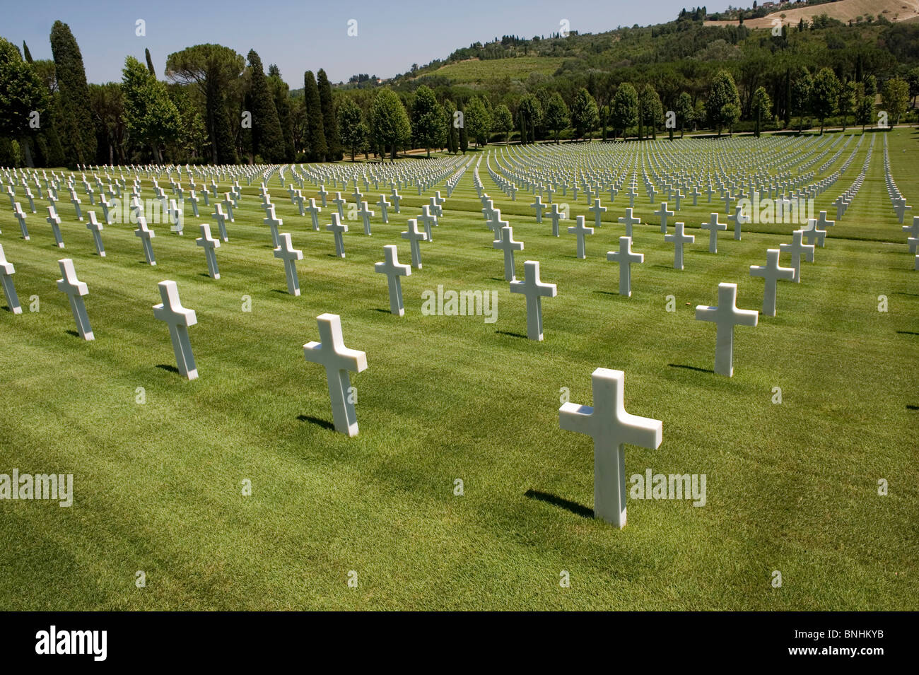 Italy. The Florence American Cemetery and Memorial, just outside Florence in Tuscany where 4,402 men of WW2 are - Stock Image