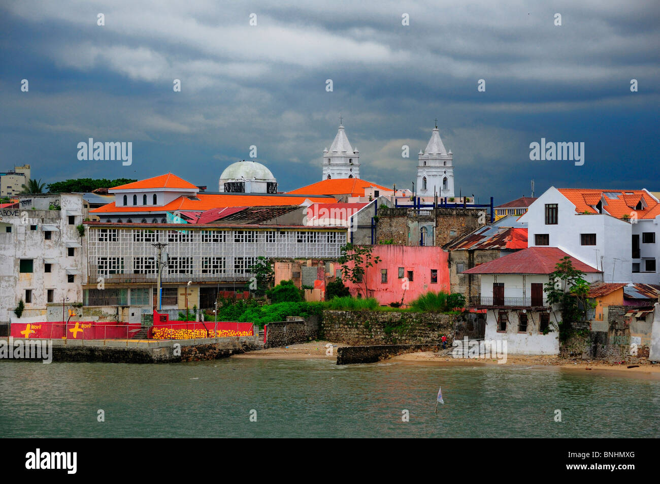 Panama Centro Historica Historic Town Panama City Central America Old town houses shore water - Stock Image