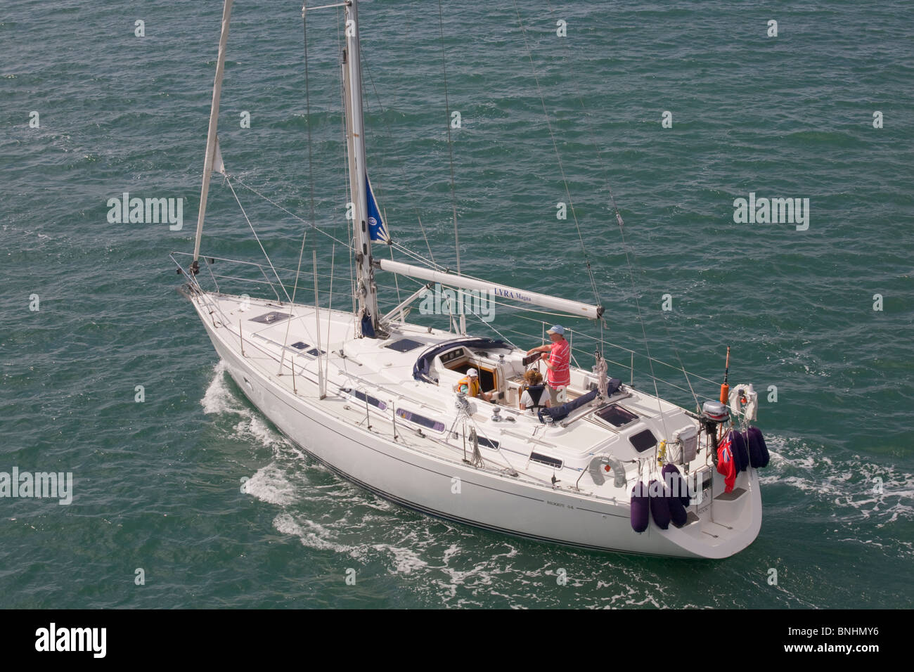 Moody 44 Yacht motoring in the Solent - Stock Image