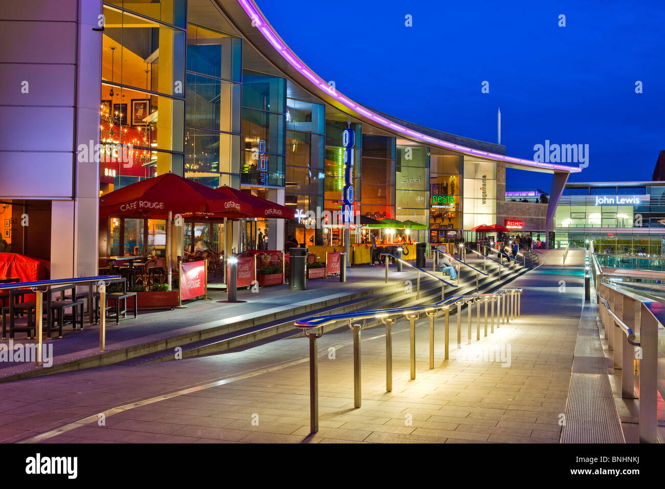 Liverpool One Shopping Mall Complex Liverpool England UK at twilight - Stock Image