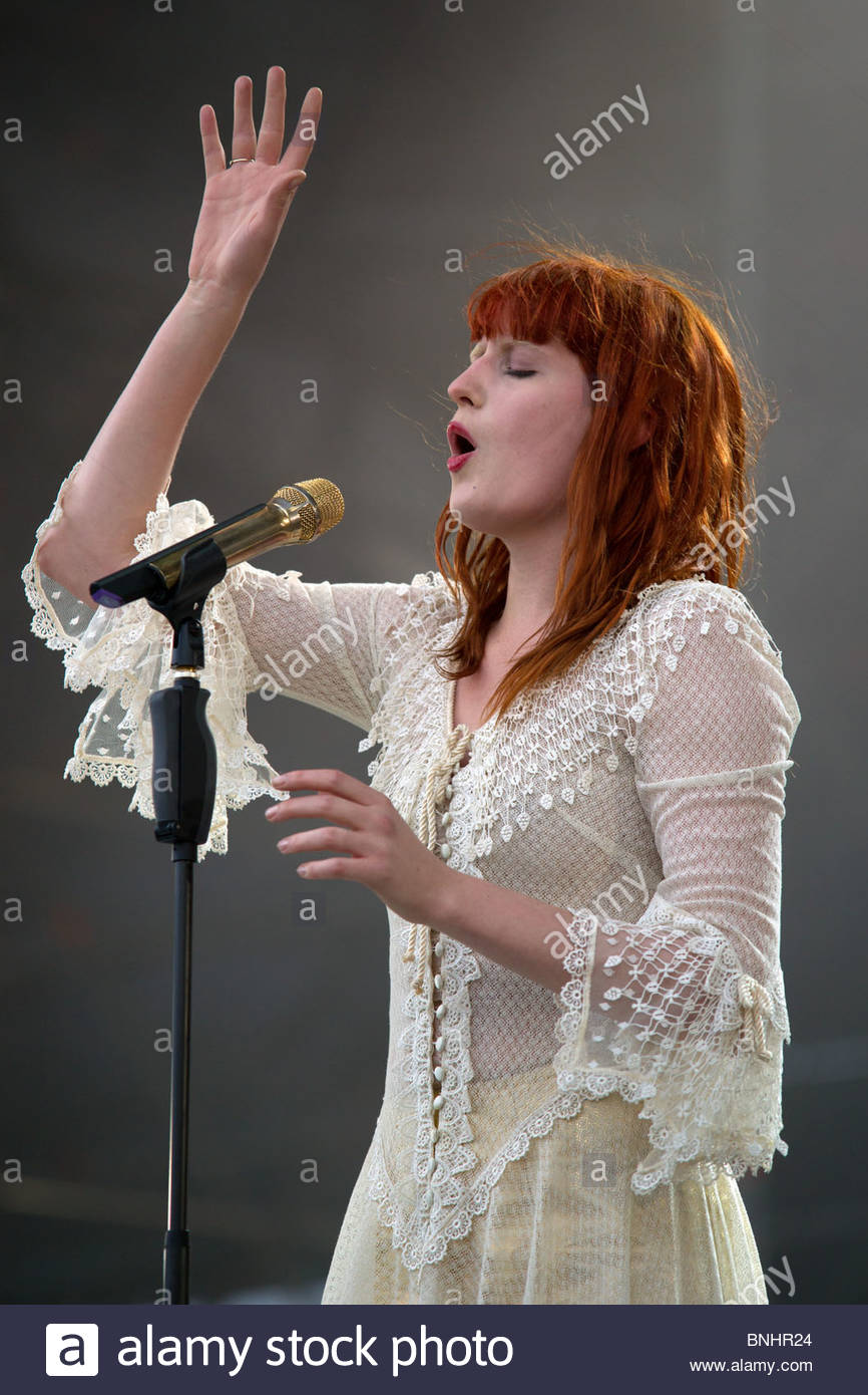 Florence Welch singer of Florence and the Machine performing live - Stock Image