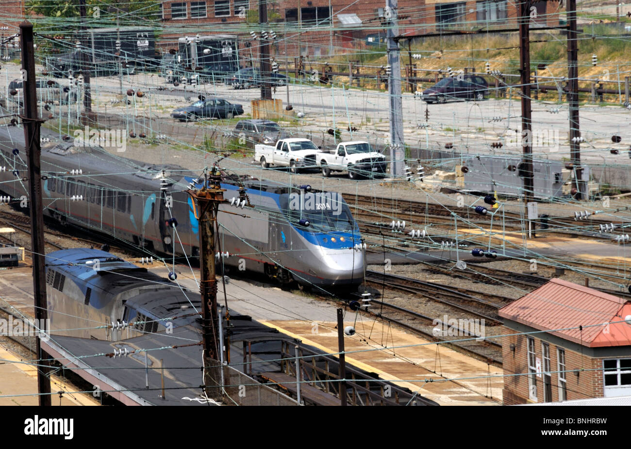 Virginia Railway train arrives  at Union Station in Washington, DC - Stock Image