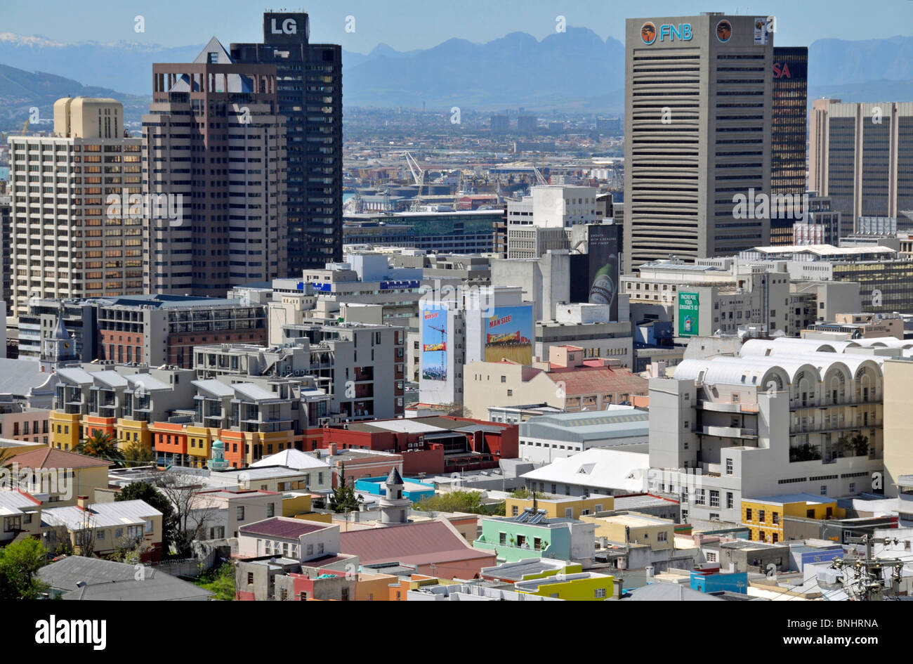View from Bo-Kaap Centre Center Cape Town South Africa Africa Bo Kaap Cape Malay Quarter First National Bank FNB - Stock Image