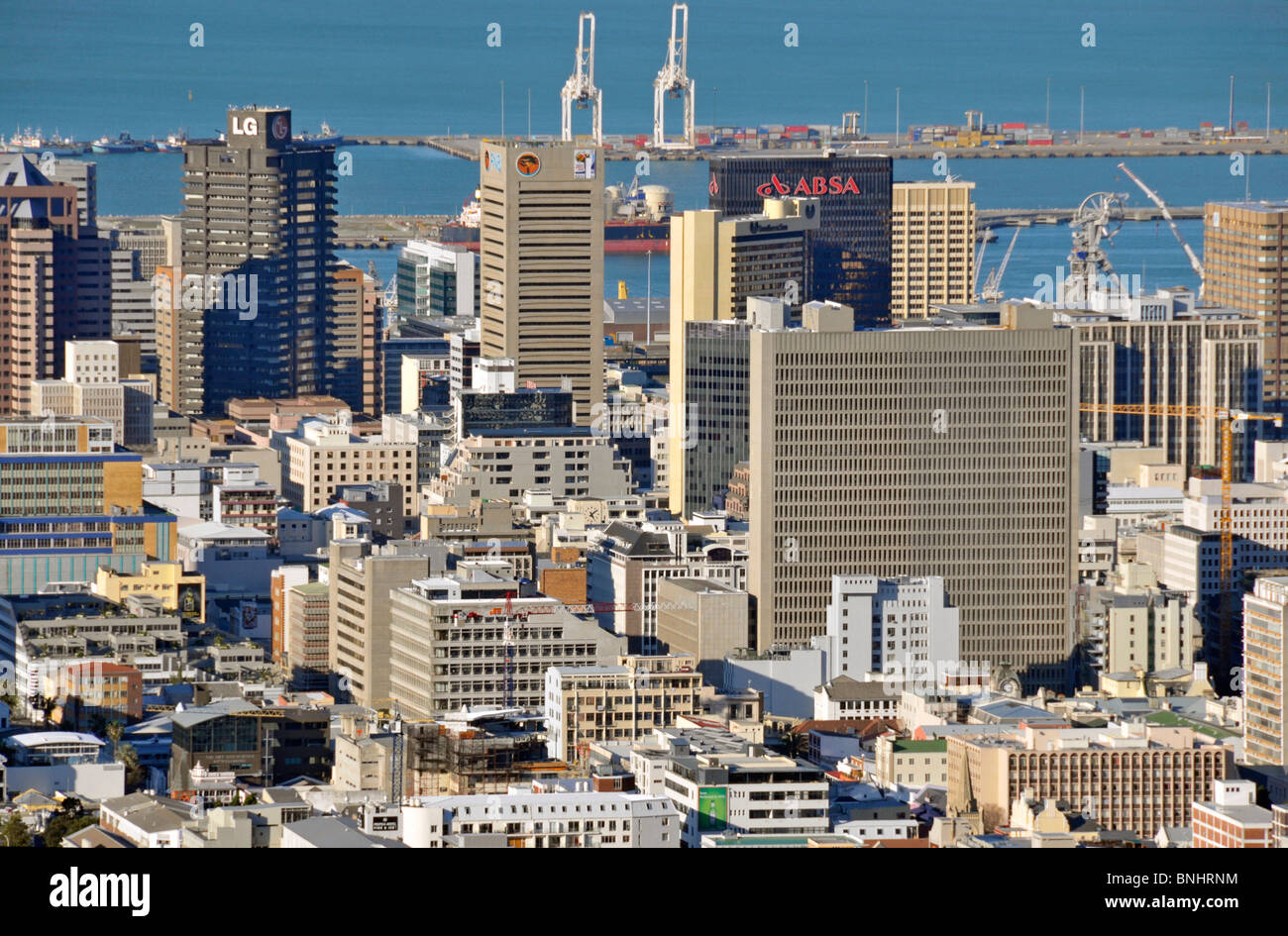View from Signal Hill Centre Center Cape Town South Africa Africa Bank Skyline City Harbor Port Coast Sea Ocean - Stock Image