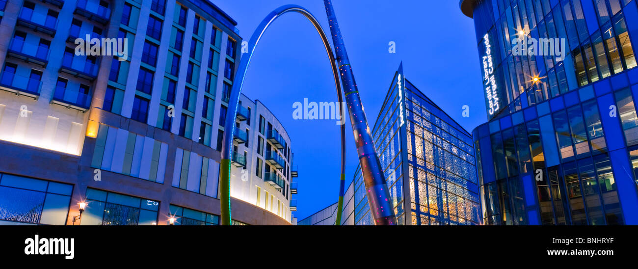 John Lewis Store Shopping Centre and Central Library Cardiff Wales at twilight - Stock Image