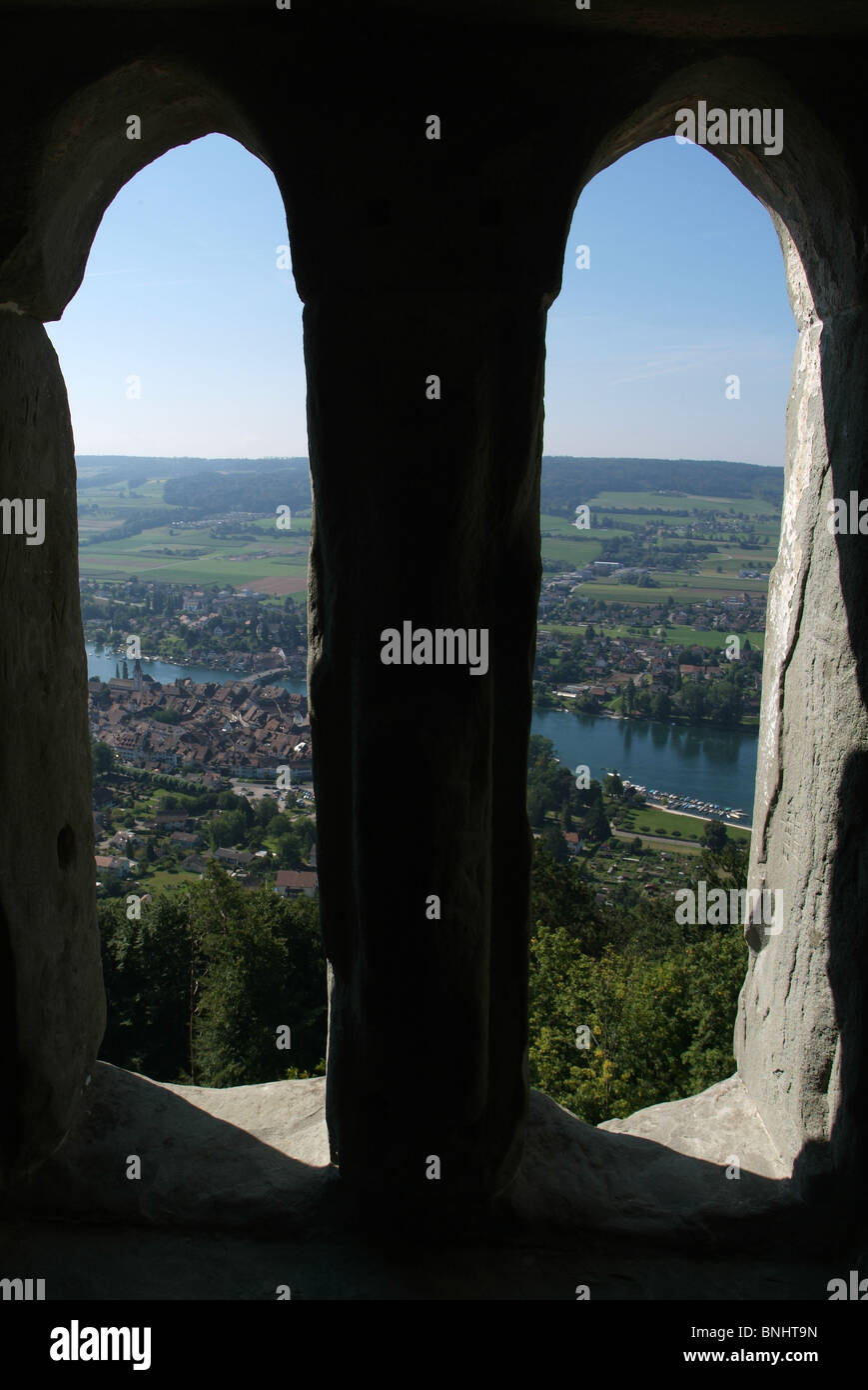 Switzerland Stein am Rhein Canton of Schaffhausen Old town small town painted houses medieval historic historical Stock Photo