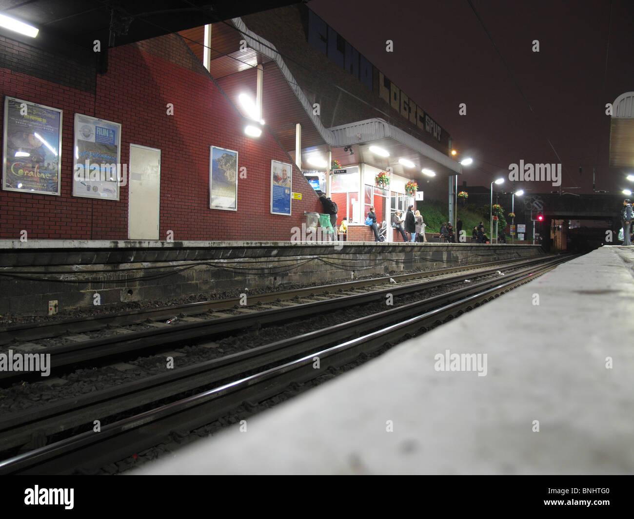 London Overground Dalston Kingsland Station at night - Stock Image