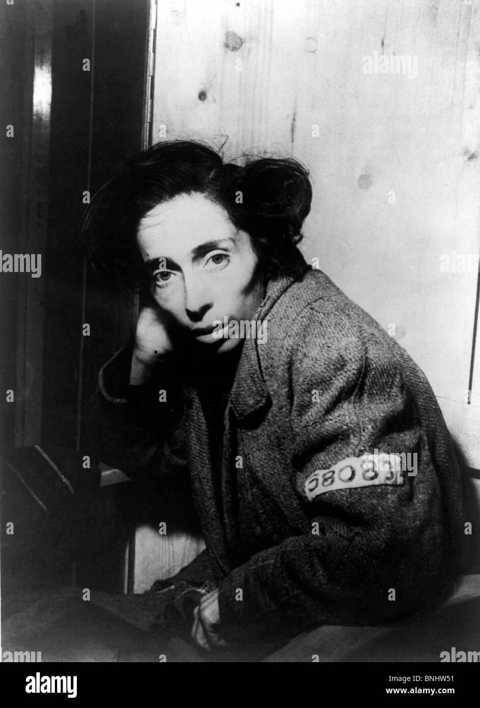World War II Penig-Langenleuba Jewish woman Jews Holocaust Germany April 1945 history historical historic prisoners - Stock Image