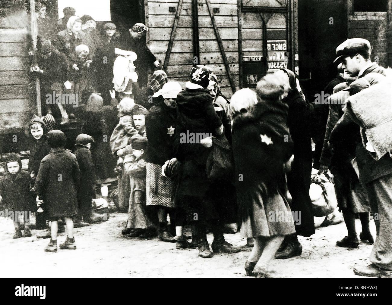 World War II Auschwitz-Birkenau concentration camp Holocaust Germany June 1944 history historical historic prisoners - Stock Image