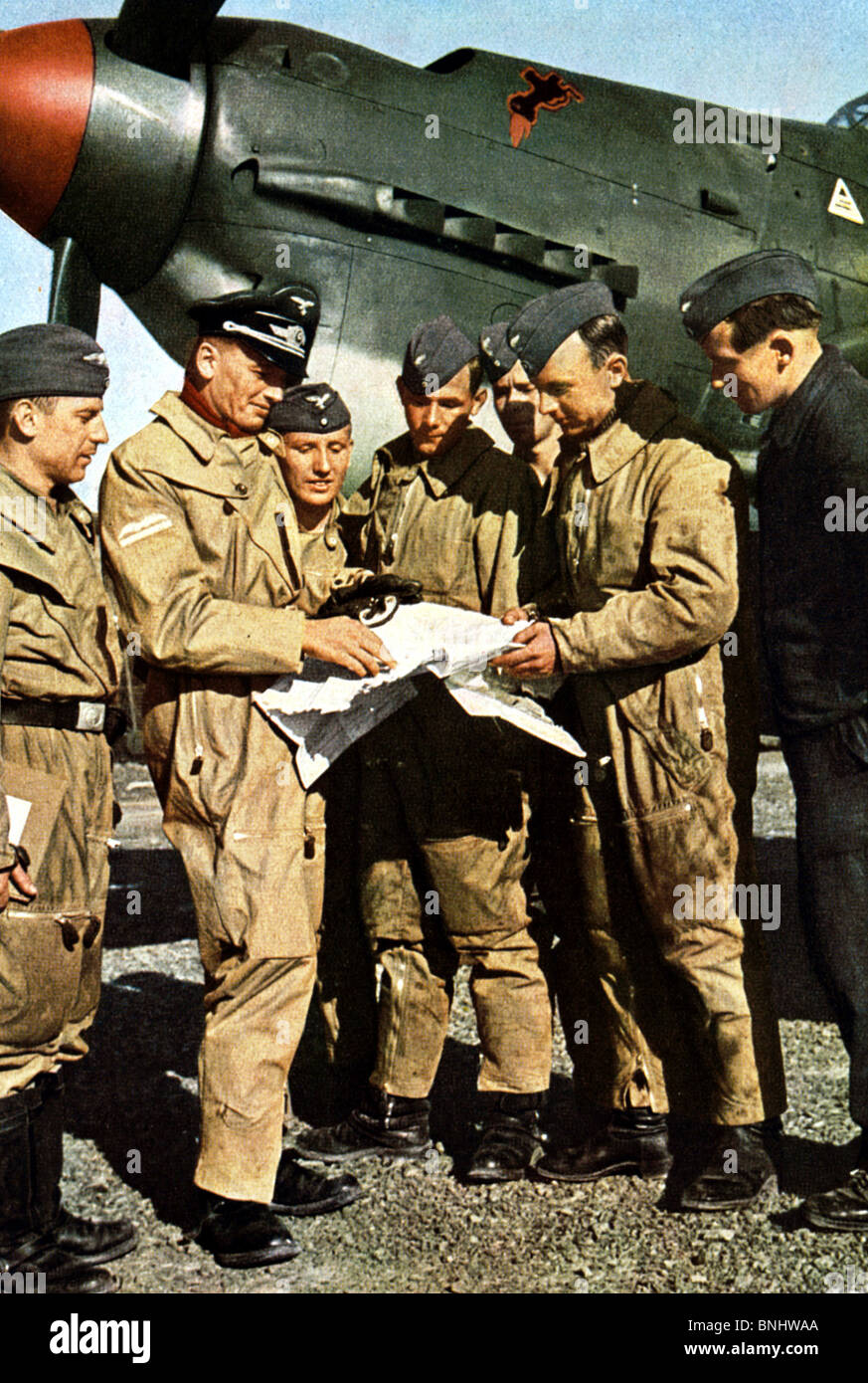 World War II Nazi Germany against England Britain Luftwaffe pilot fighter aircraft meeting pilots map aeroplane - Stock Image
