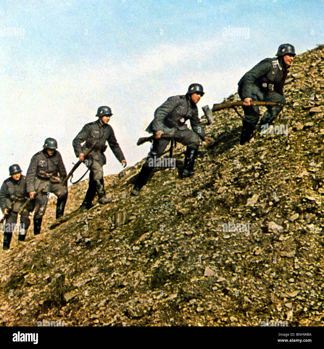 World War II Reconnaissance Nazi Germany German soldiers scouts scouting troop men Wehrmacht Nazis between 1939 - Stock Image