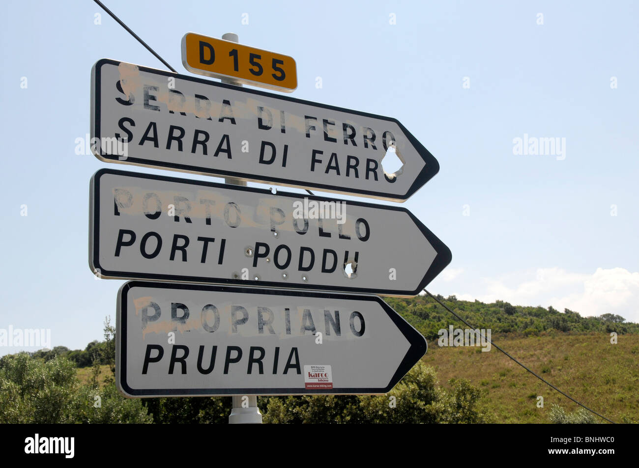 CORSICA BILINGUAL SIGNS DEFACED BY FLNC (FRONT LIBERATION NATIONAL CORSE)  ACTIVISTS AROUND THE ISLAND - Stock Image