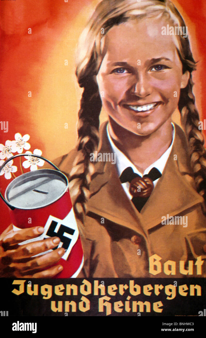 Baut Jugendherbergen Poster Nazi Germany about 1938 by Hermann Witte Nazism Germany history historic historical - Stock Image