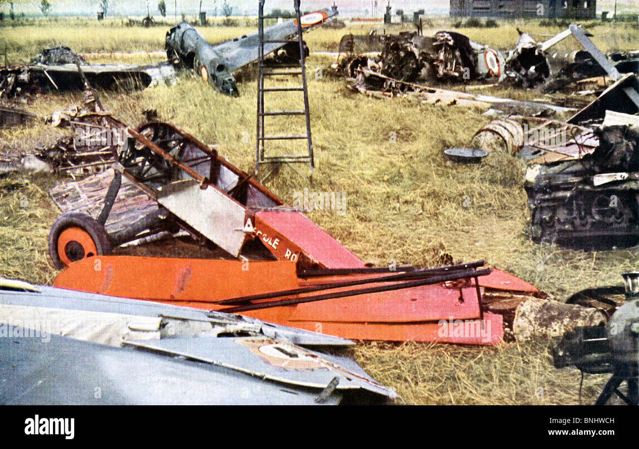 World War II French planes Invasion of France destroyed wrecks wreck shoot down aeroplanes aircraft aircrafts June - Stock Image