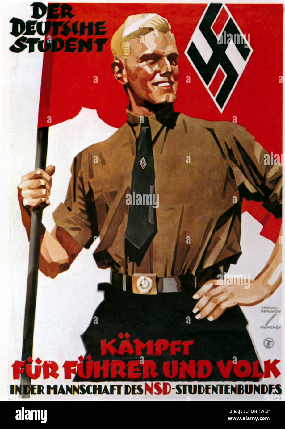 The German Student Poster Nazi Germany NS-Studentenbund 30s Thirties by Ludwig Hohlwein Nazism Germany history historic - Stock Image