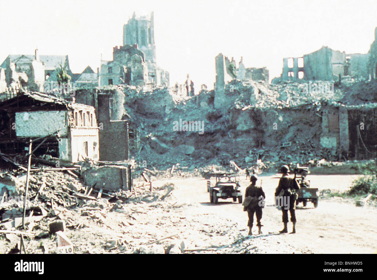 World War II Normandy Saint Lo July 1944 Second World War WW2 war military army history historic historical soldiers - Stock Image