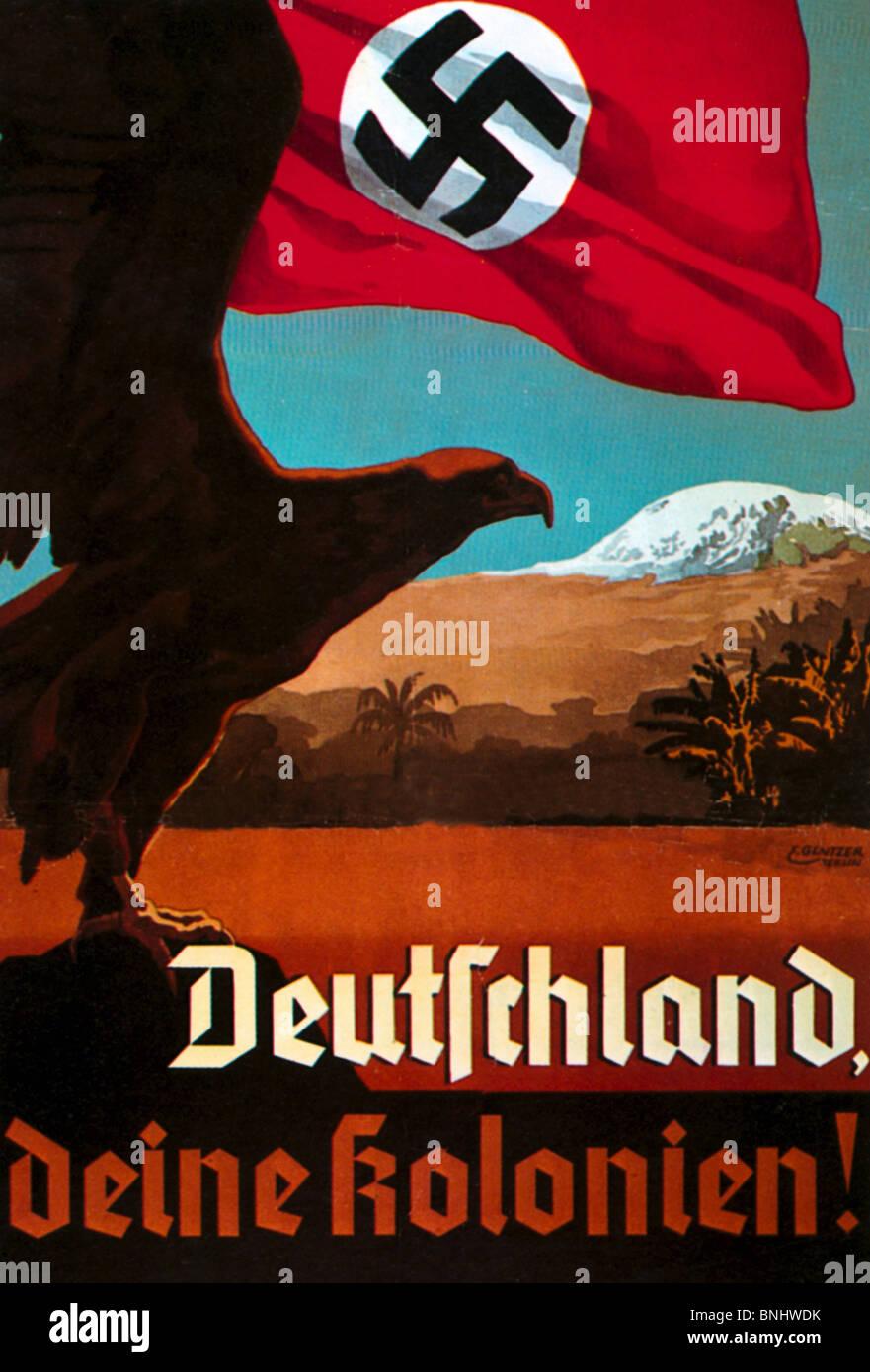 Germany 1935 colonialism Poster Propaganda Nazism Nazi Germany Germany history historic historical colonies colony Stock Photo