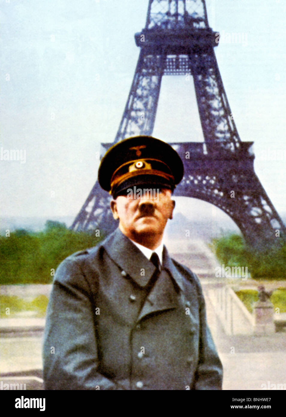 World War II Adolf Hitler Paris Eiffel tower after the surrender agreement Armistice with France Second Compiegne - Stock Image