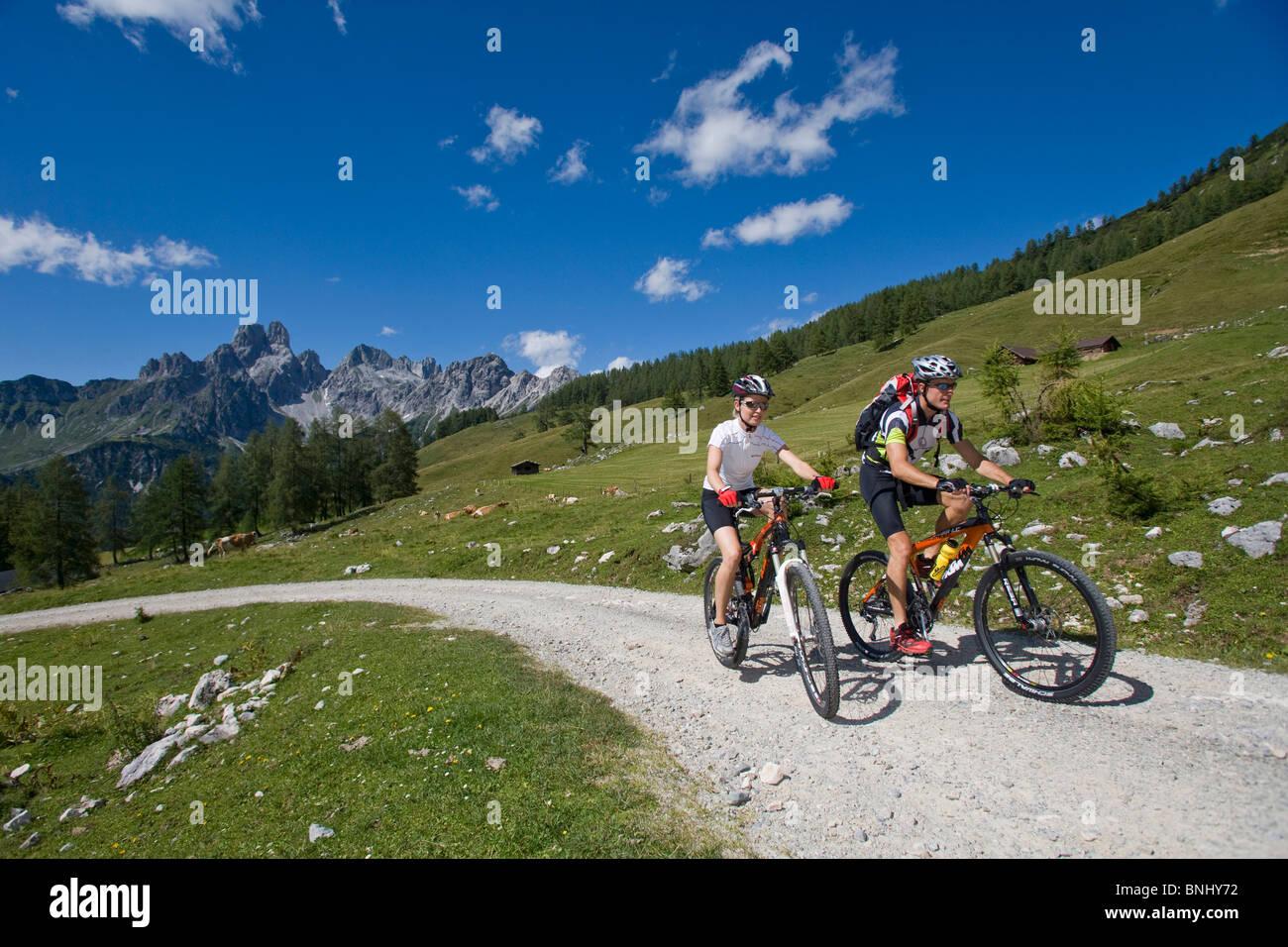 Bike Austria Filzmoos Salzburg summer alp mountain alps alpine mountains landscape scenery nature Bicycle Bicycles - Stock Image