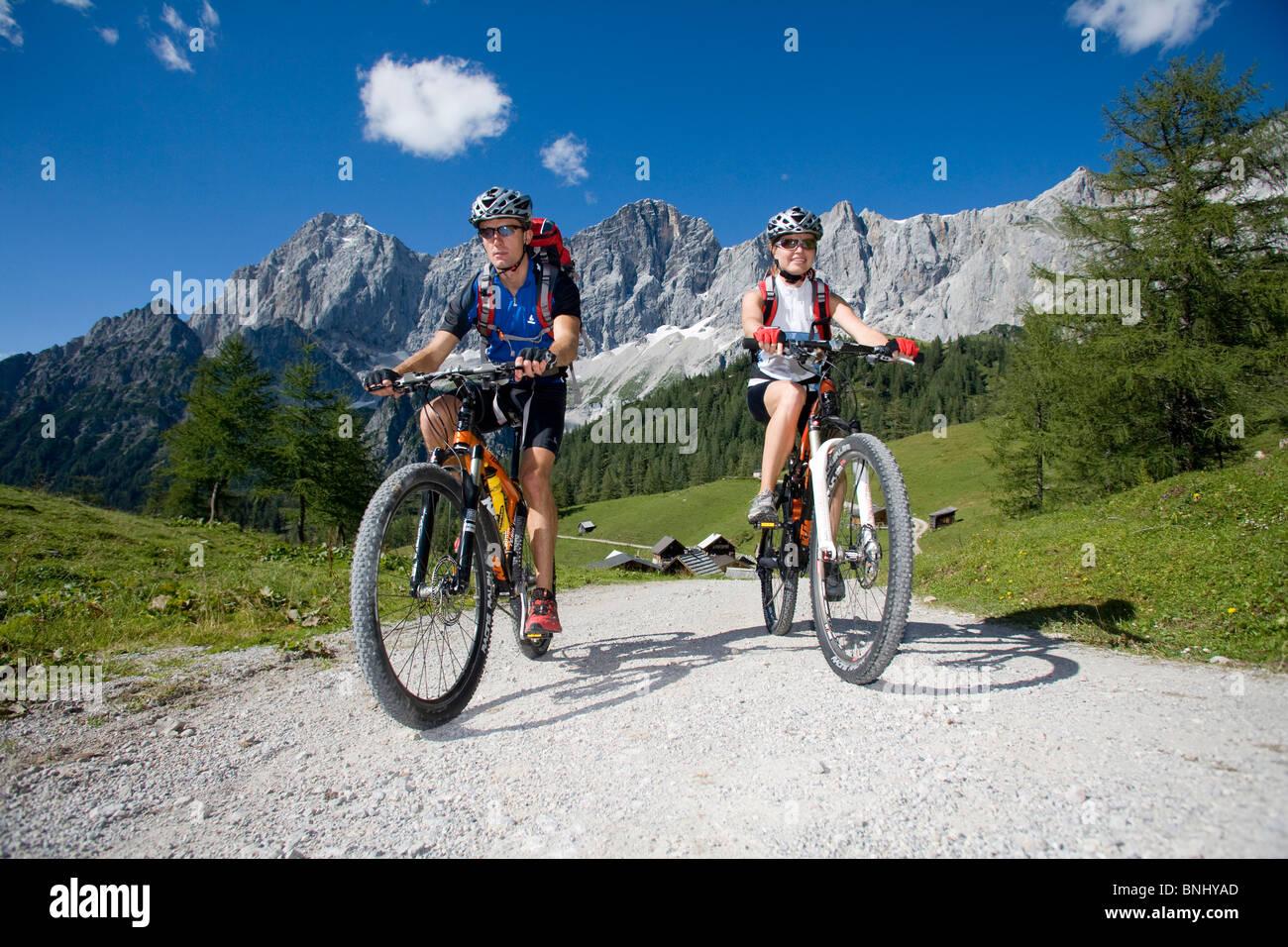 Bike Austria Ramsau Dachstein Styria summer alp mountain alps alpine mountains landscape scenery nature Bicycle - Stock Image