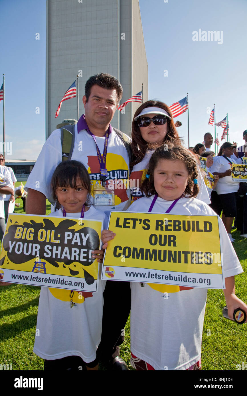 On July 22, 2010, over a thousand protesters marched to Occidental Petroleum offices in Westwood, Los Angeles. - Stock Image