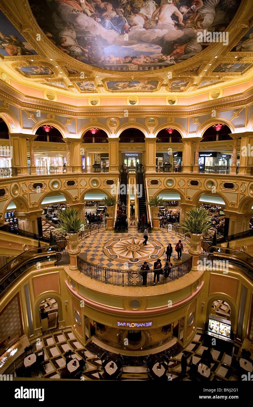 China Macao Macau city The Venetian casino casino inside curves interior decoration decorates - Stock Image