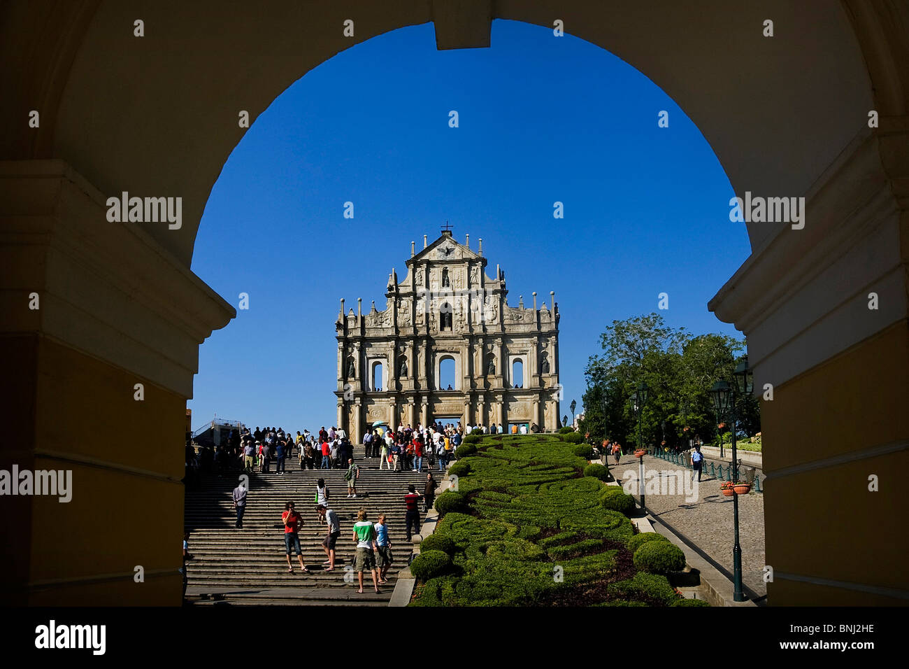 China Asia Macao Macau city ruins church St Paul UNESCO world cultural heritage tourist - Stock Image