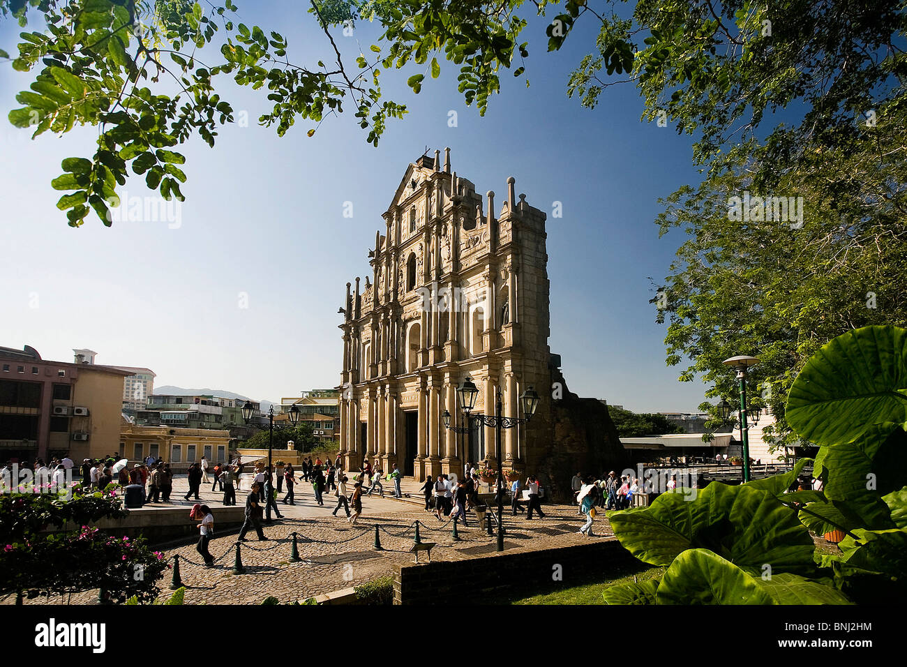 China Asia Macao Macau city ruins church St Paul UNESCO world cultural heritage facade tourist - Stock Image