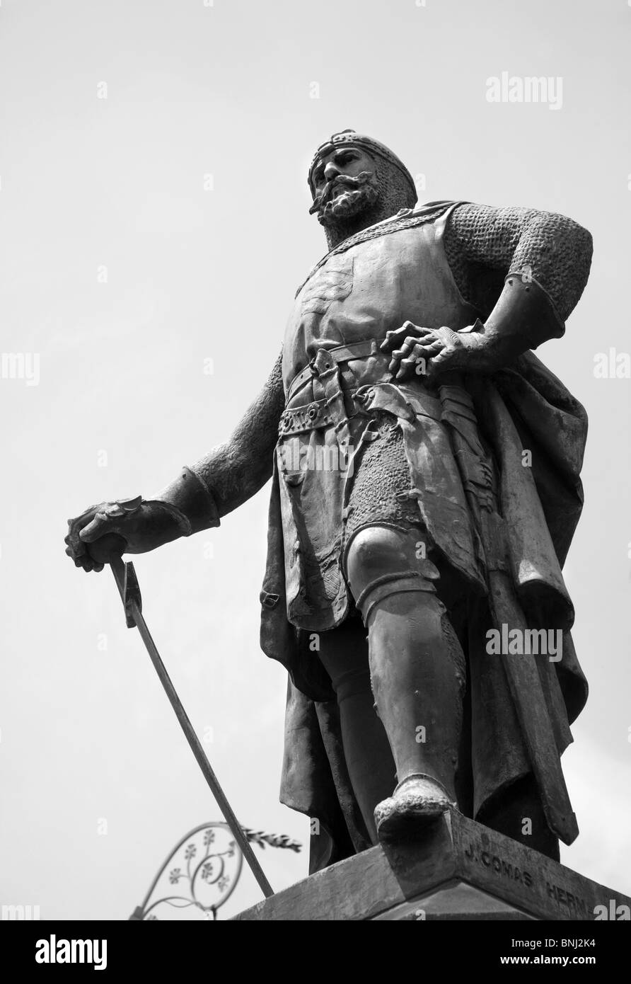 knight statue from Barcelona - Passieg Luis Companyos - Stock Image