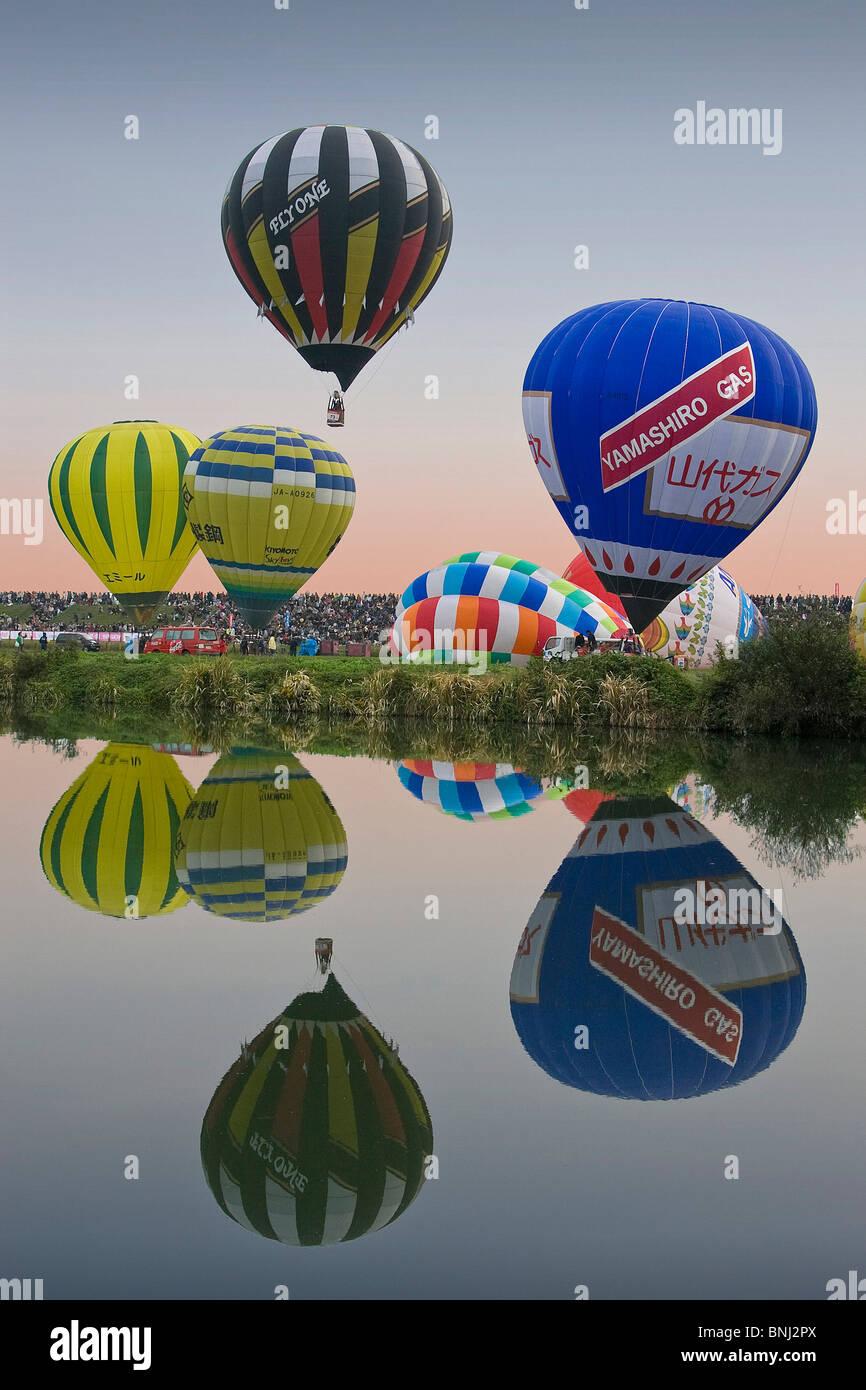 Japan Asia Kyushu Iceland saga city balloons balloon festival hot-air balloon lake sea aviation - Stock Image