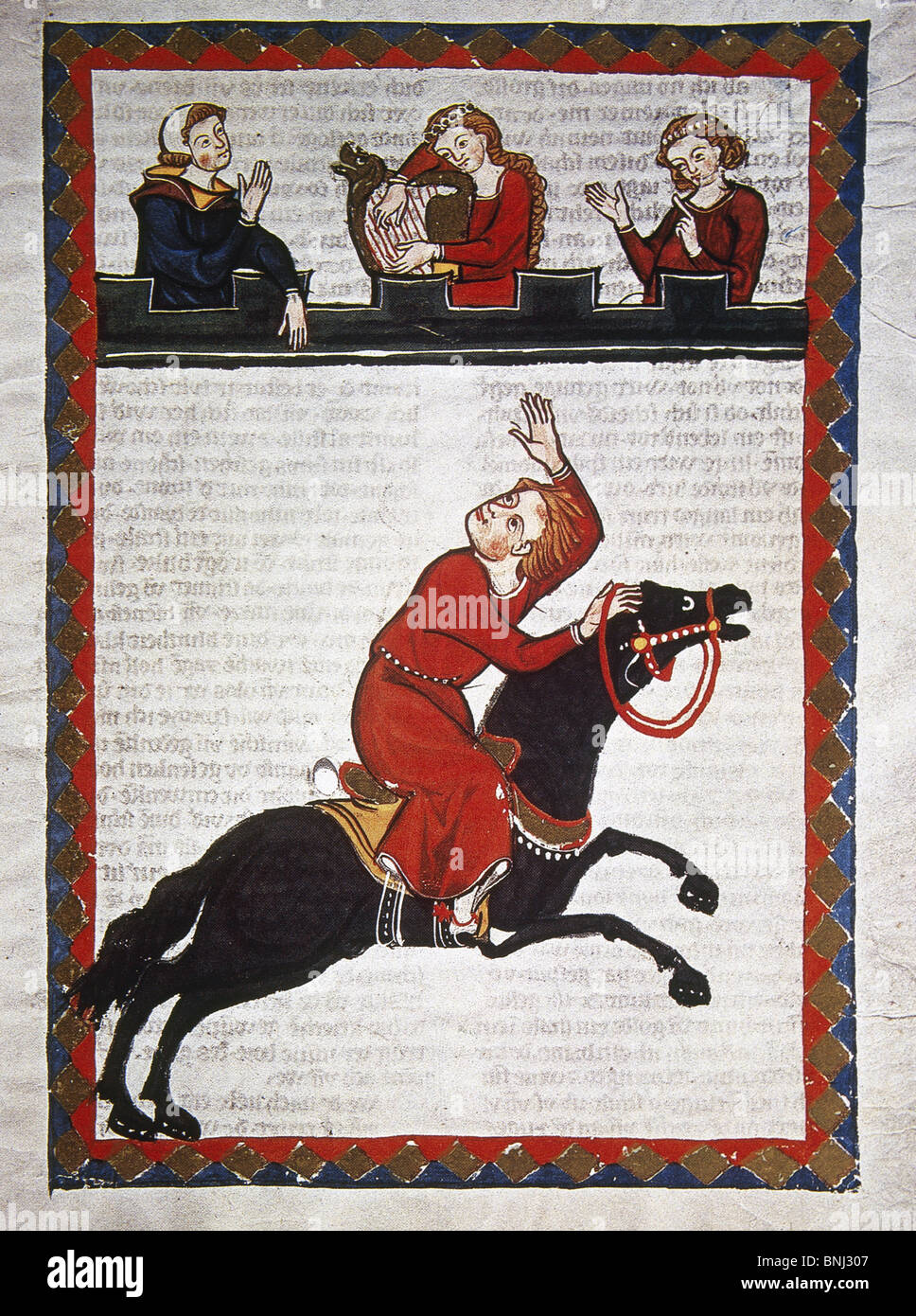 Der Wilde Alexander, poet of the 13th century, greets his beloved while he's riding. Codex Manesse. - Stock Image