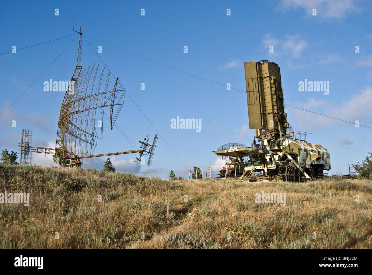 radars on the secret military base - Stock Image