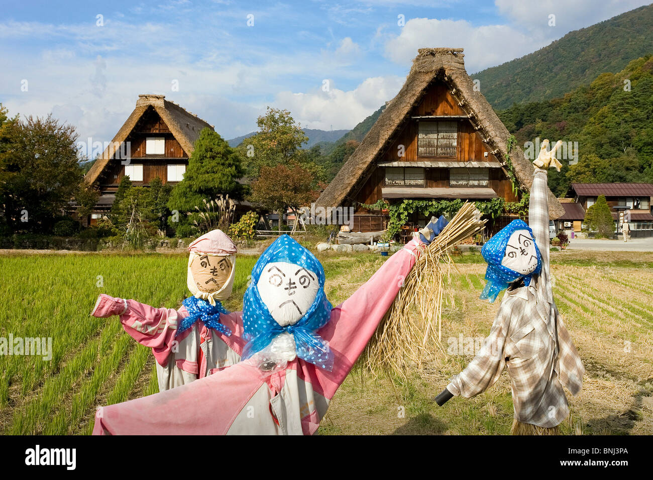 Japan Asia Shirakawa Go city straw roof thatched roof houses homes UNESCO world cultural heritage straw roof village - Stock Image
