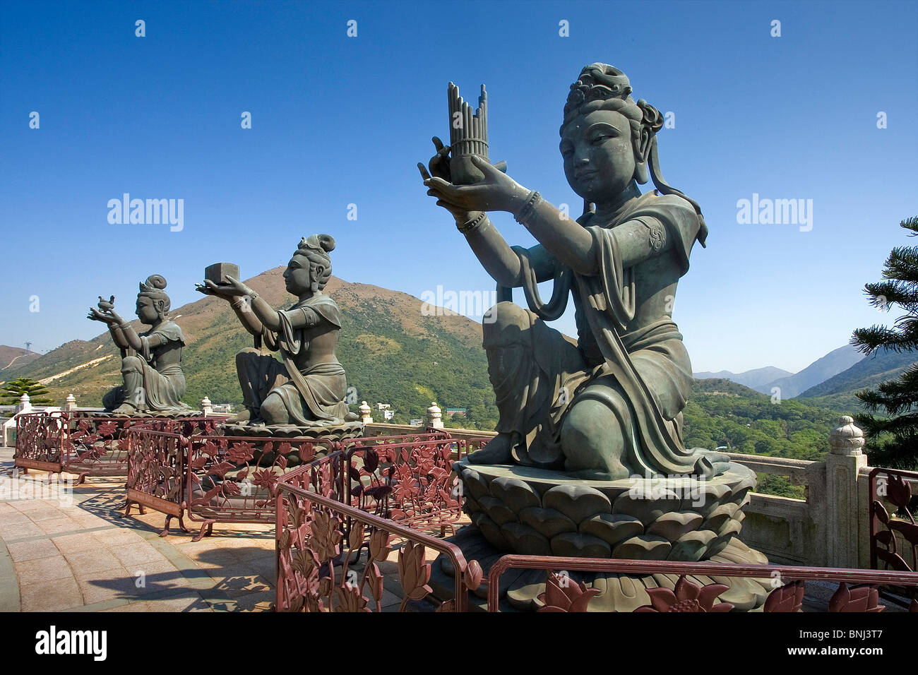 Hong Kong Hongkong Asia Lantau Iceland sculptures figures religion culture Stock Photo