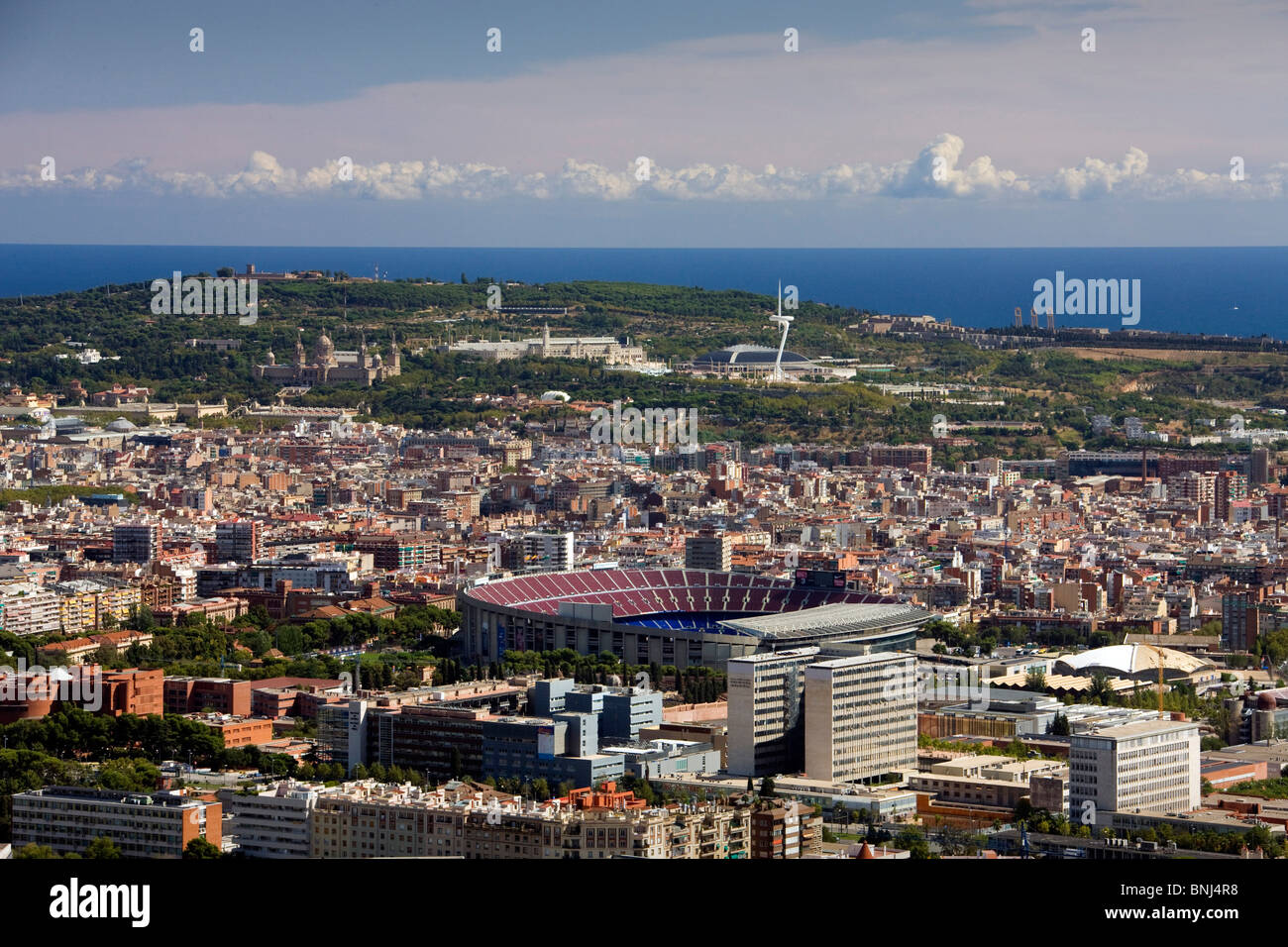 Spain Barcelona town city camp Nou Montjuich mountain stadium overview - Stock Image