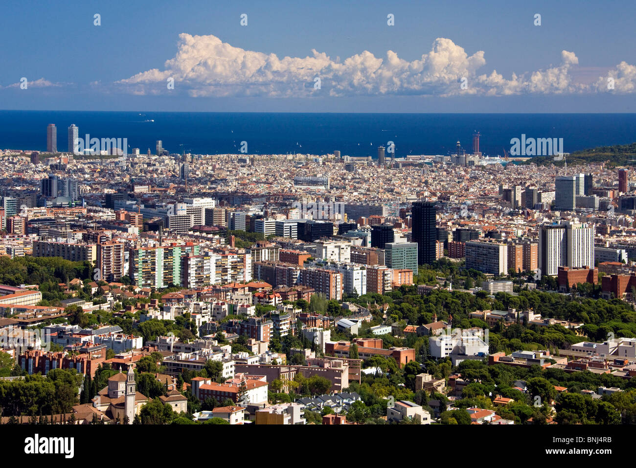 Spain Barcelona town city sea houses homes overview capital - Stock Image
