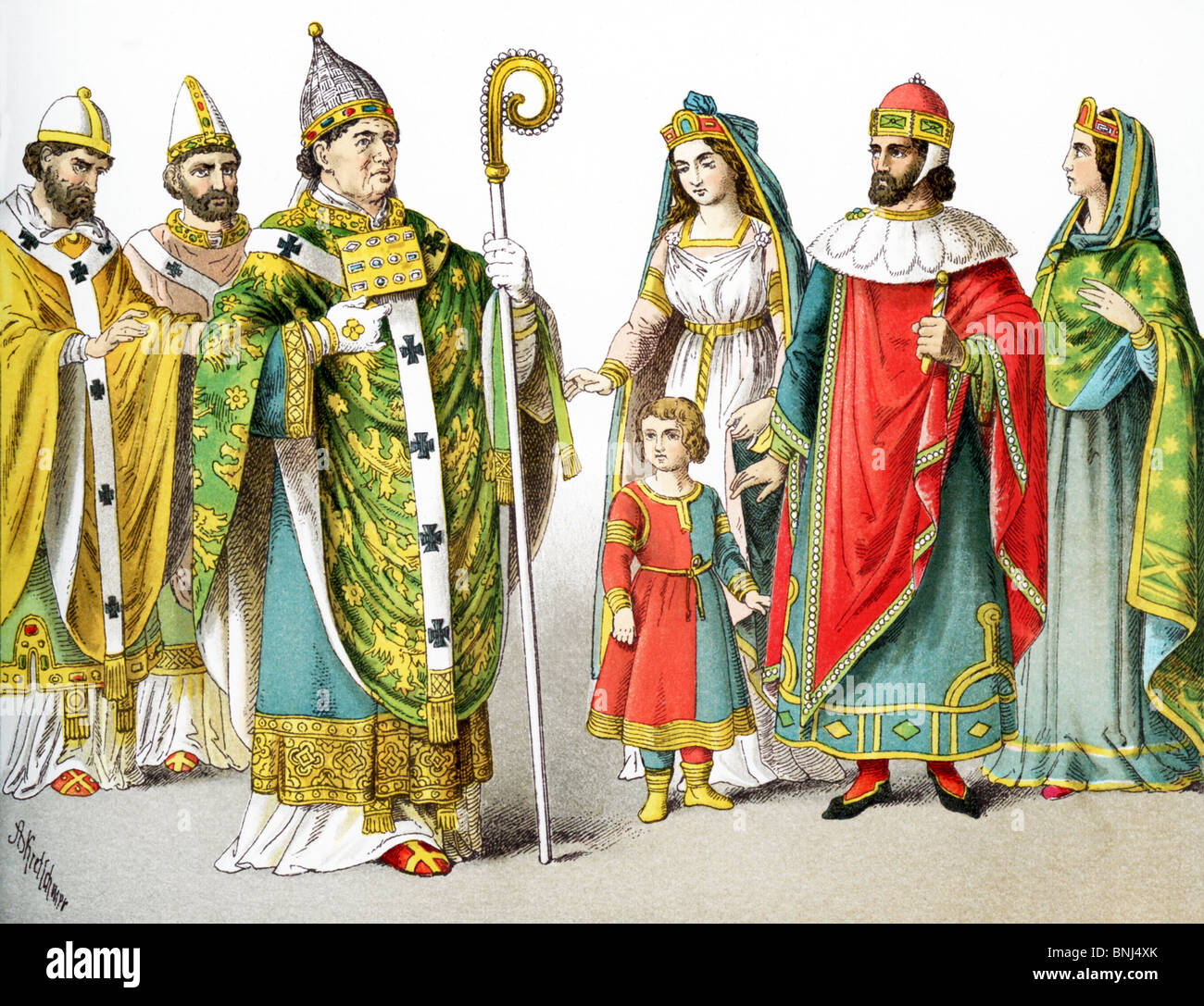 The figures represent Roman Catholic popes between 1000 and 1200  and Venetian nobles around A.D. 1200. - Stock Image