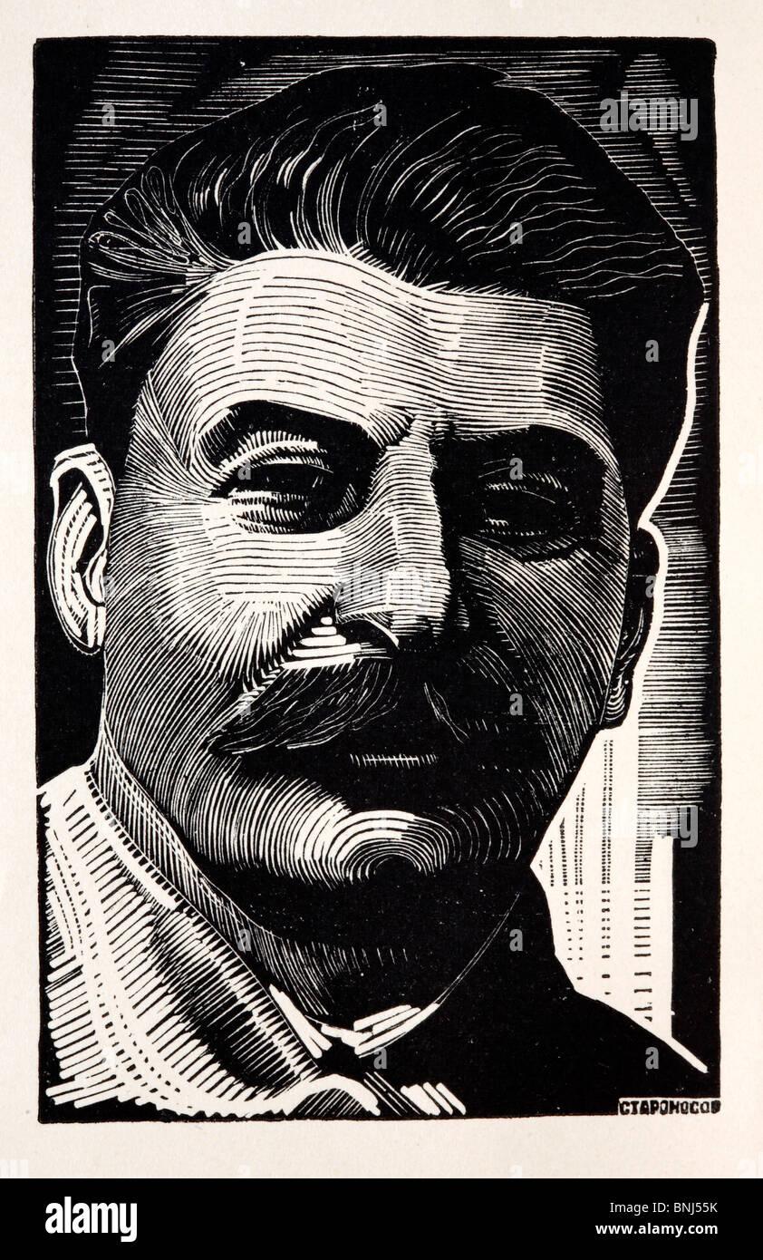 Stalin stalinist stalinism communist communism thirties report induatrialization Russia Russian 1930s illustration - Stock Image
