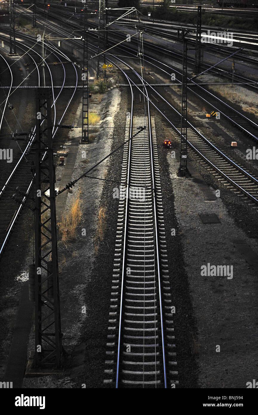 railroads, railways, tracks seen in Maschen, the biggest european freight depot near Hamburg in Germany - Stock Image